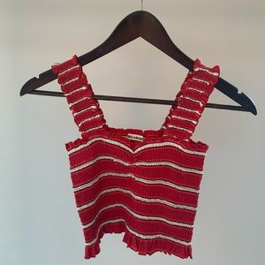 Red white and black striped billabong crop top